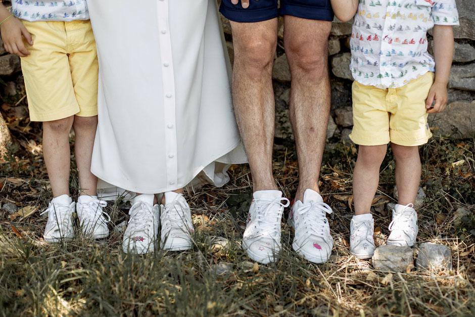 baskets mariage mariés enfants