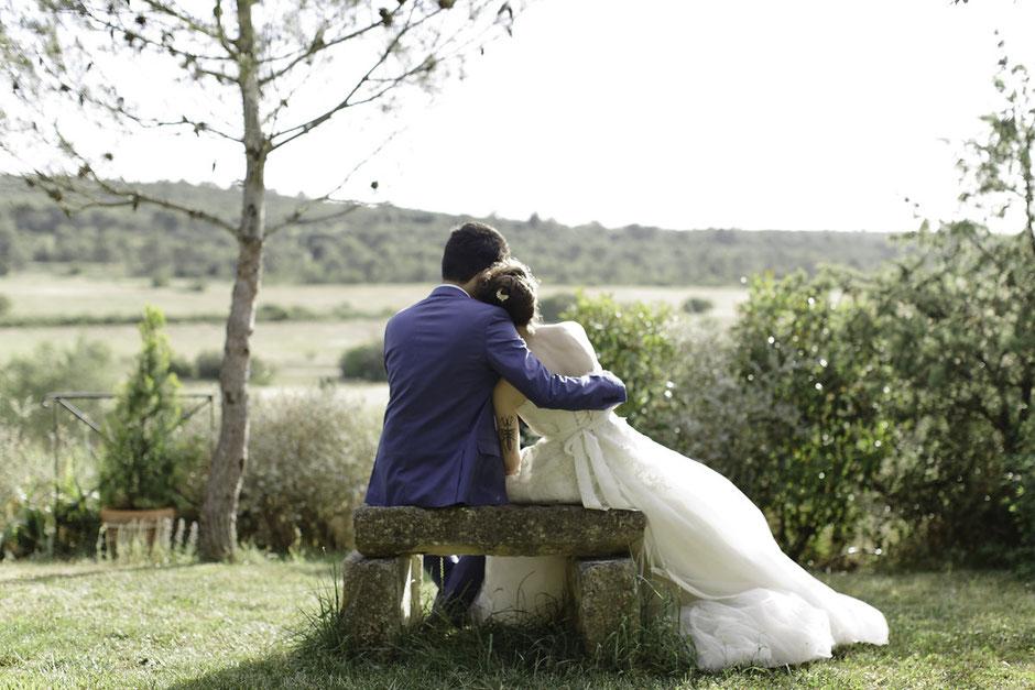 Couché soleil mariage mariés