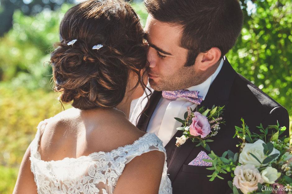 Mariage romantique champêtre rose poudré dentelle Sud France