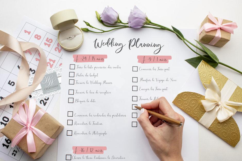 J'organise mon mariage rétroplanning