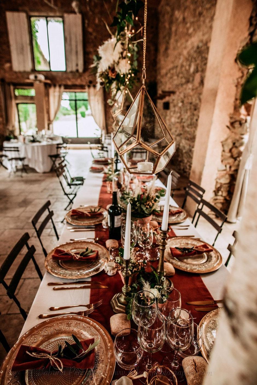 Décoration table d'honneur champêtre rustique chic terracotta et doré