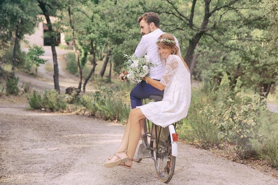 Mariage vélo champêtre Sud France