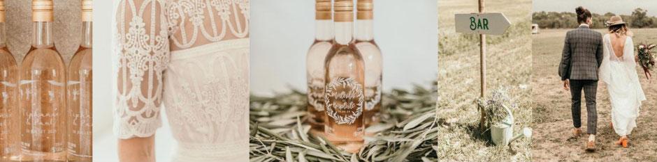 Minis bouteilles de rosé personnalisables mariage cadeaux iinvités