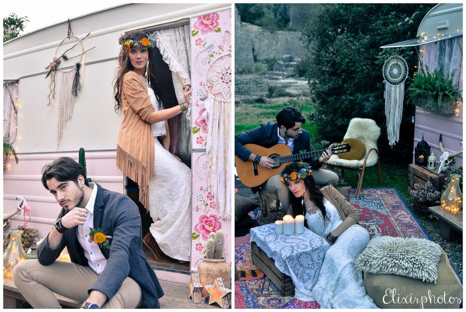 Mariage hippie folk ethnique