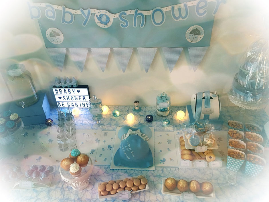deco table babyshower fete prenatale bebe baby boy garcon bleu