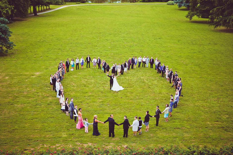 mariage coeur photo invités