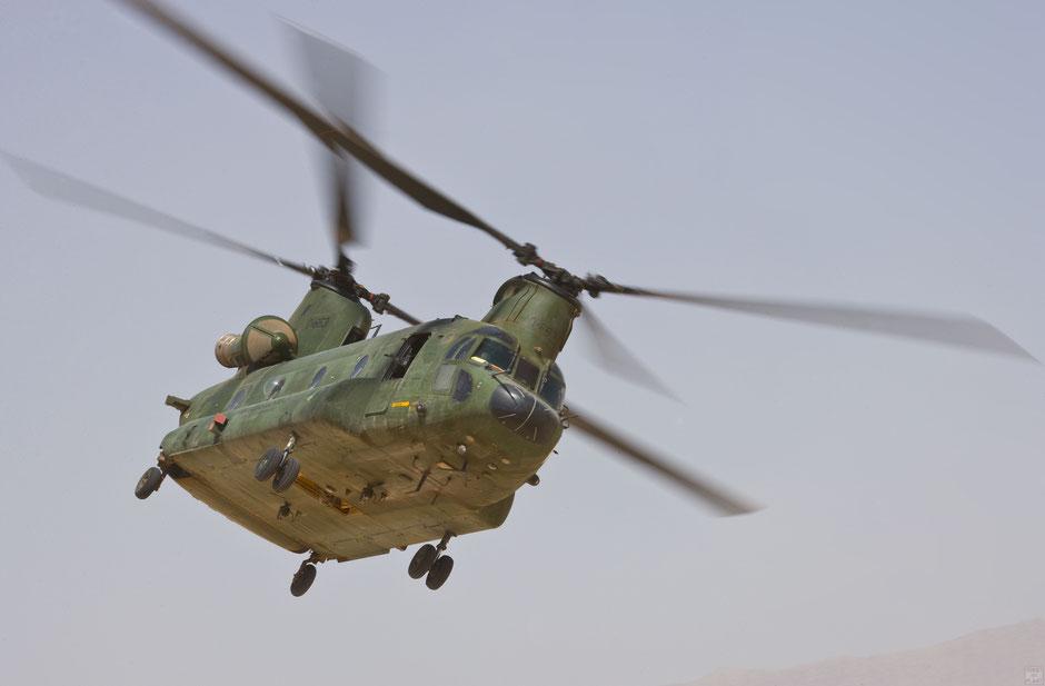 Een Chinook-transporthelikopter van 298 Squadron zet de landing in | © TekstEnPlaat.nl