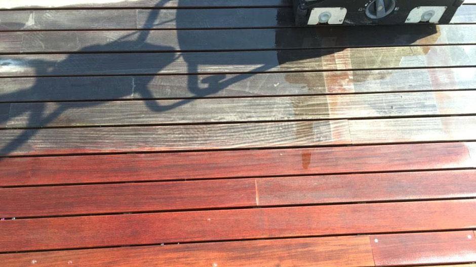 Foto: Effektive Grundreinigung und professionelle Einpflege lässt alte Terrassen wieder neu aussehen
