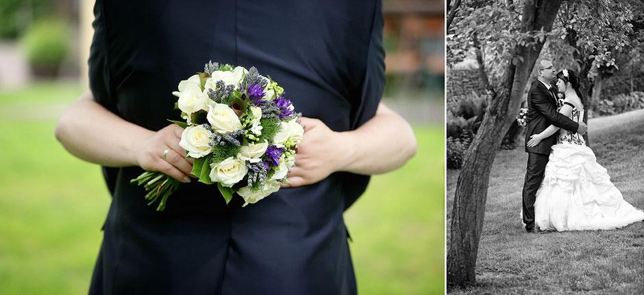 brautstrauß, lila weißer Brautstrauß, brautpaarportraits