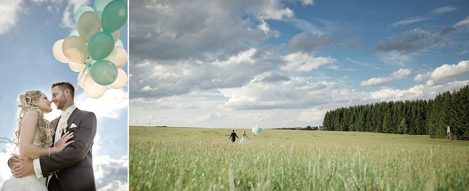 Brautpaar mit Luftballon