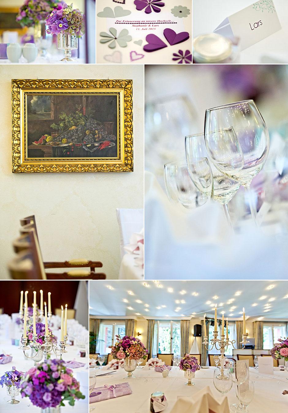 hochzeit, hochzeitsreportage, Romantik Hotel Jagdhaus Waldidyll, paul fleming, tischdekoration hochzeit