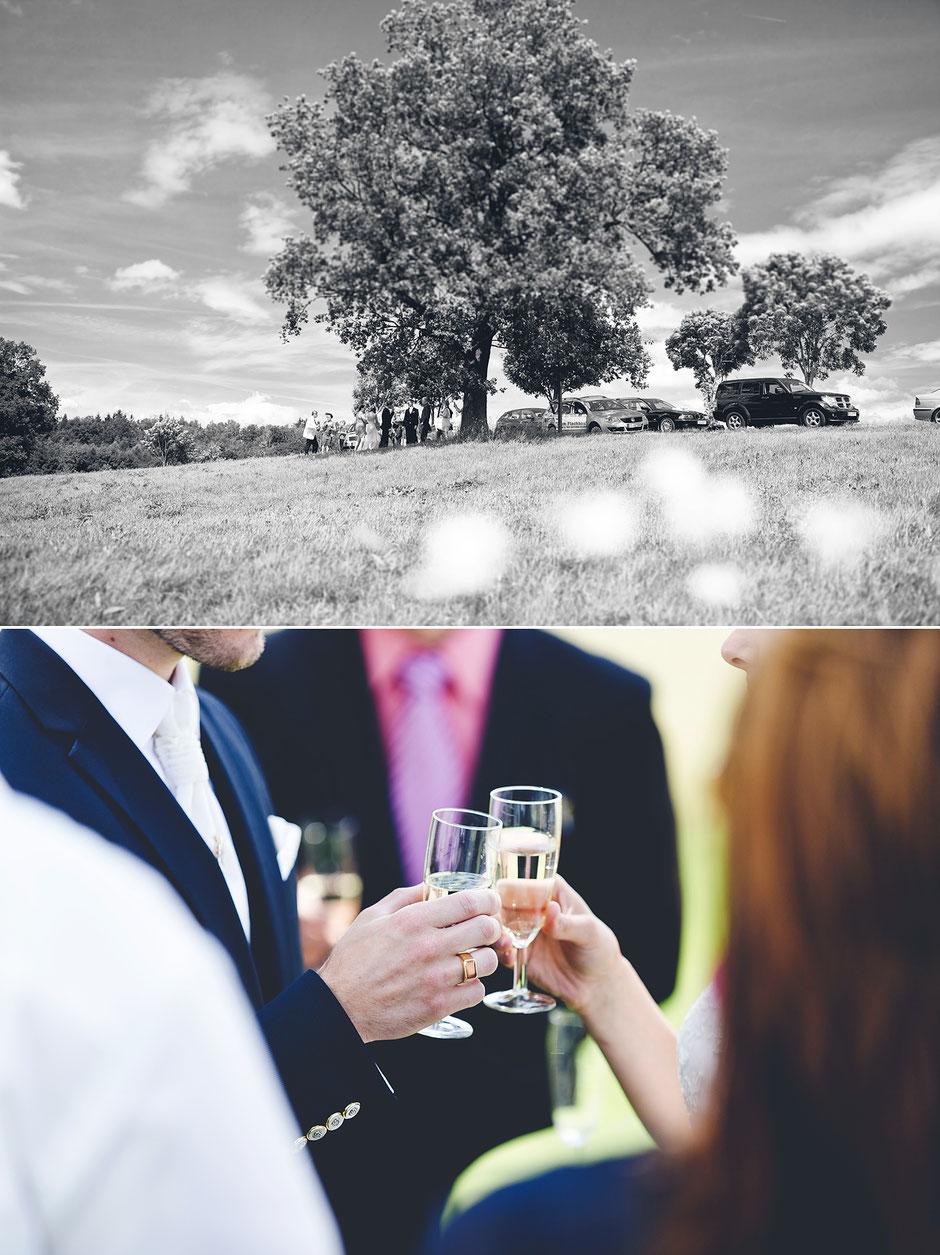 Hochzeit im freien, sektempfang