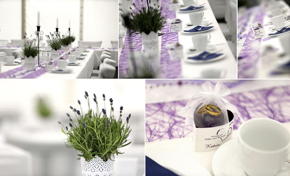Kaffeetafel hochzeits, hochzeitsdekoration, Gastgeschenke zur Hochzeit, lila weiß, hochzeitsfotograf Erzgebirge