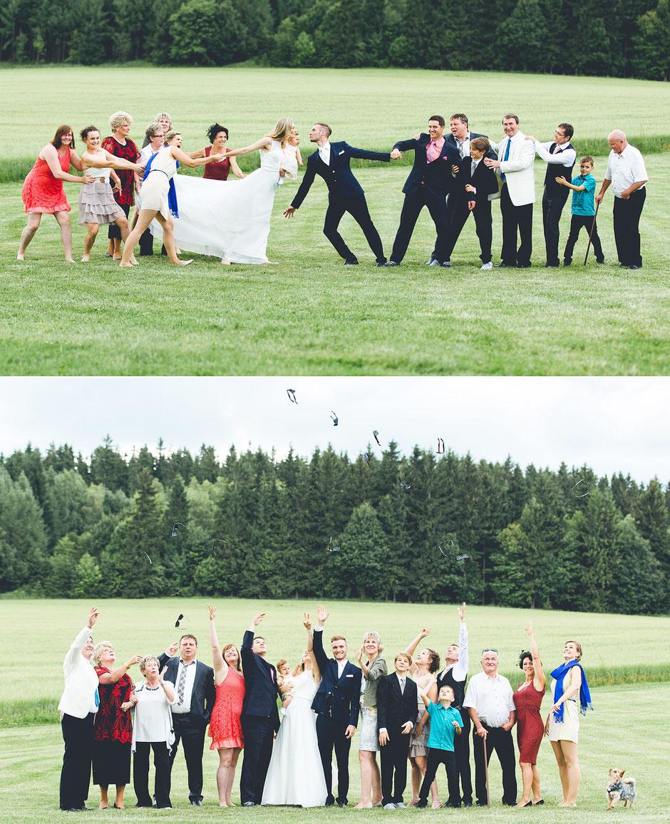 lustiges gruppenfoto, gruppenfotos ideen, gruppenfotos hochzeit, hochzeitsfotografie