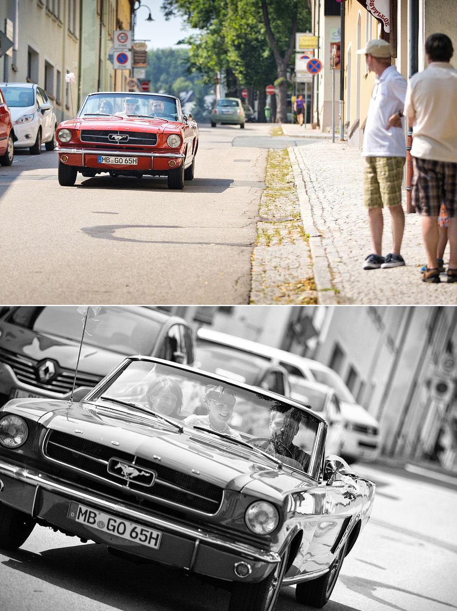brautauto, braut, ankunft braut, Kirche oberwiesenthal, kirchliche Trauung, hochzeitsreportage