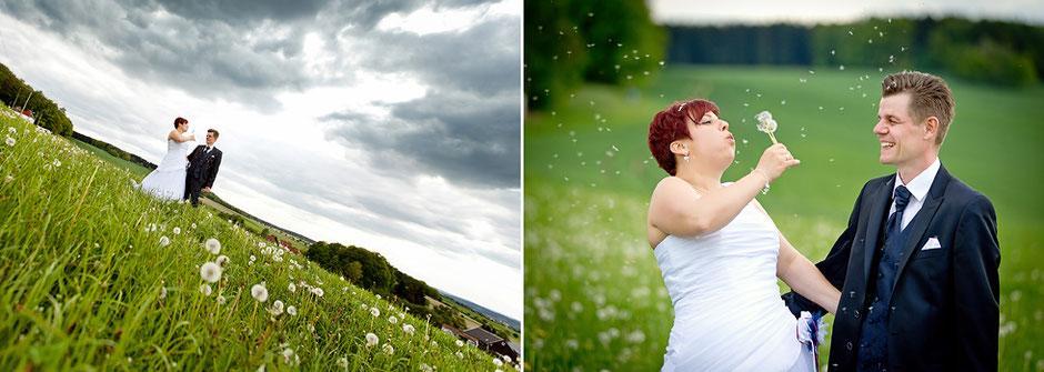 hochzeitsfotos wiese, hochzeitsfotos im Sommer, Brautpaar