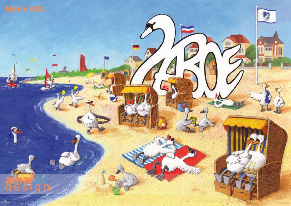 www.amarillu.de, Laboe Strand DIN A2, Motiv 001