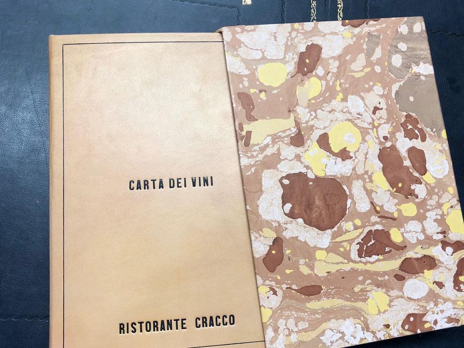 Carta dei vini in pelle ristorante Cracco by Conti Borbone