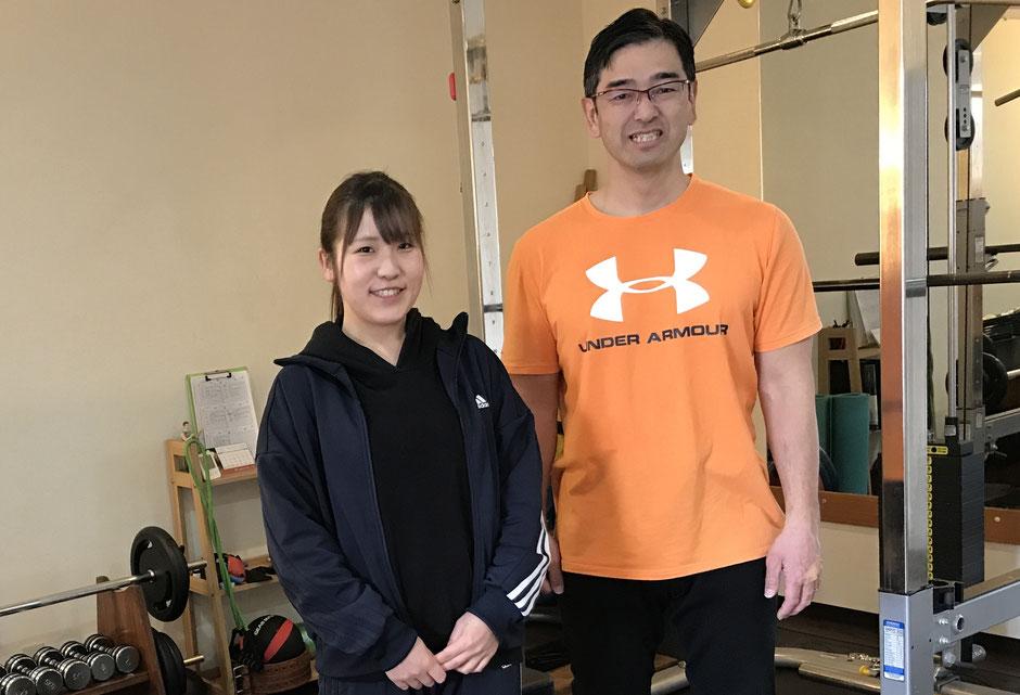 パーソナルトレーナー坂本誠と管理栄養士の久保田佳奈です