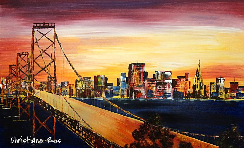 gemaltes Bild Skyline von San Francisco hinter der Golden Gate Bridge © Christiane Ros