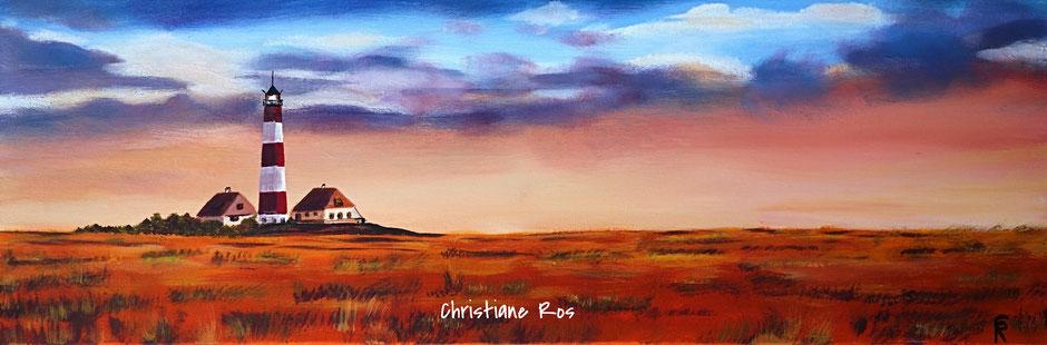 """gemaltes Bild """"Jever""""-Leuchtturm - Wahrzeichen der Landschaft Eiderstedt an der Nordsee © Christiane Ros"""