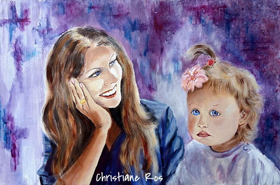 Bild Porträt Acryl und Aquarellstift © Christiane Ros