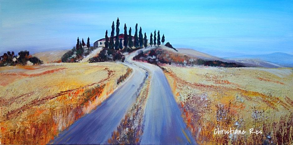 gemaltes Bild Landschaft in der Toskana © Christiane Ros