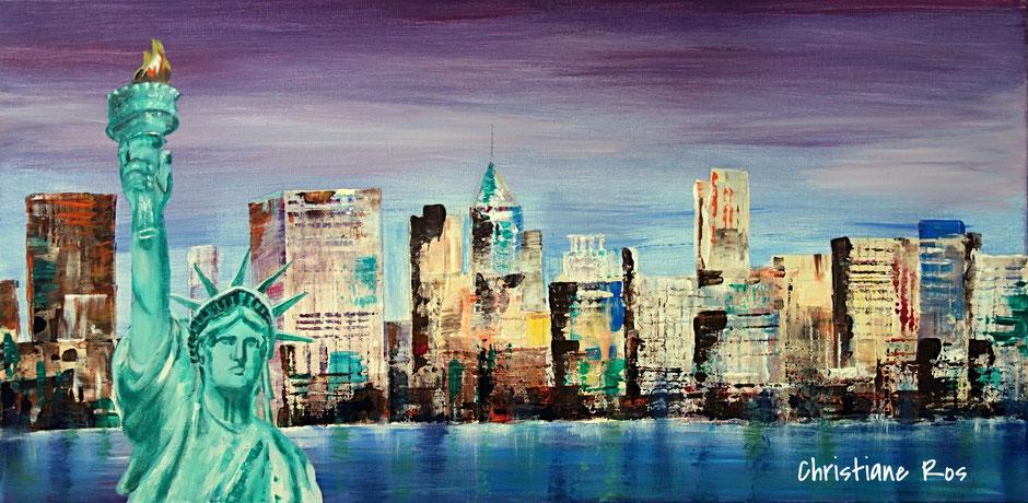 gemaltes Bild New York Skyline mit Freiheitsstatue © Christiane Ros