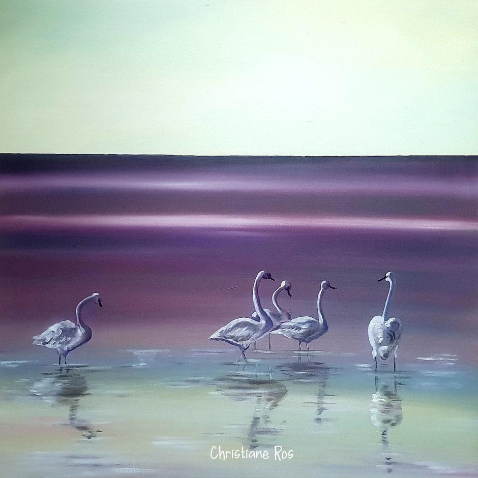 gemaltes Bild Schwäne © Christiane Ros