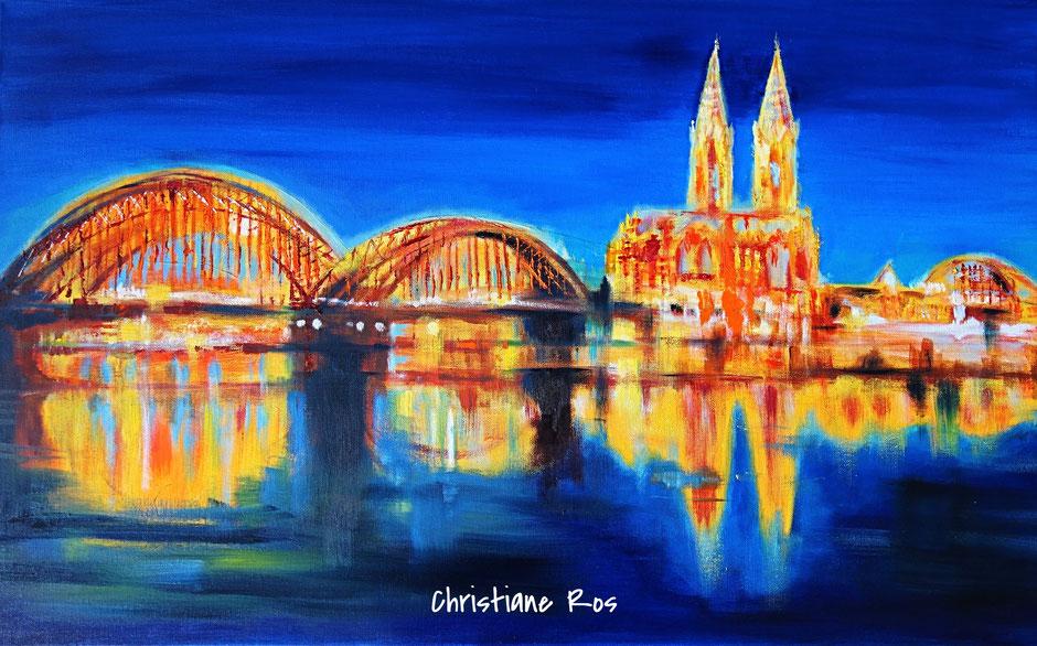 gemaltes Bild Dom Köln Hohenzollernbrücke © Christiane Ros