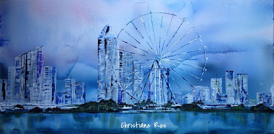gemaltes Bild Skyline von Singapur © Christiane Ros