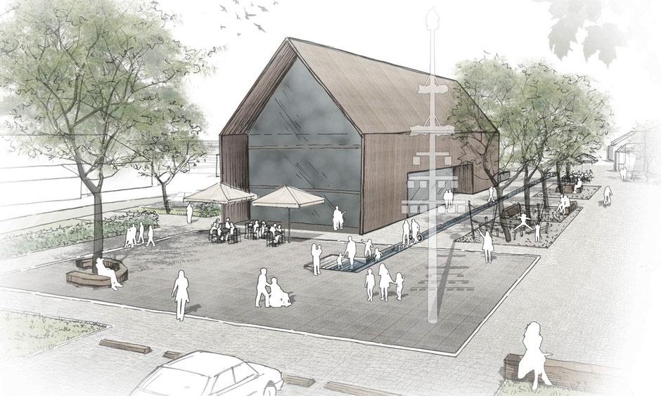 Ortsmitte Überauchen Wettbewerb 1. Preis storz.architektur Freiburg Schwarzwald Holzbau