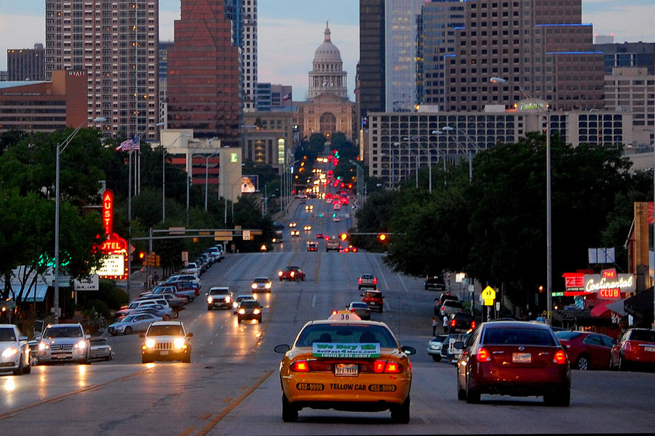 View of Austin's Texas State Capitol on Congress Avenue, from the bridge that crosses the Colorado River. (Photo credit: LoneStar Mike).