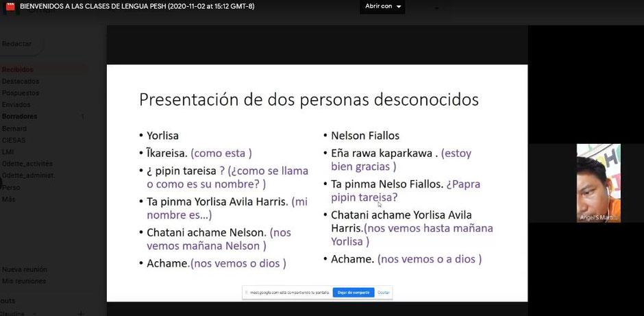 Image 1: Learning salutations - Professor Angel Martínez during the November 2 session (print screen).