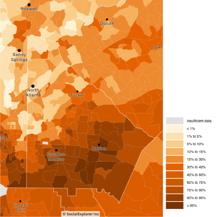 DeKalb County's percentage of Black population for 2018 (Source : Social Explorer)