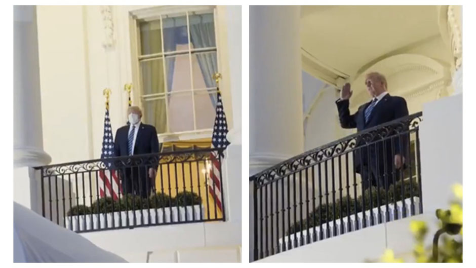 Trump removes his mask after returning to the White House from Walter Reed Medical Center. Video from the Trump campaign posted on Twitter, October 6, 2020, https://twitter.com/realDonaldTrump/status/1313267143232942081