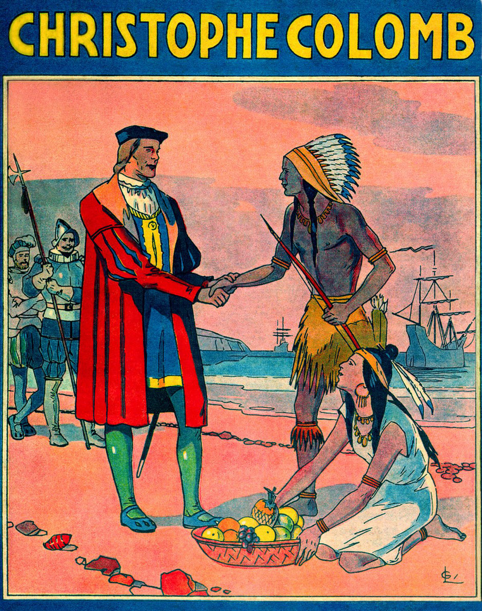 No preventative measures, no social distancing, with the conquistadors in this very paternalistic and idealized handshake from an image in a 1940s school book (D. R.).