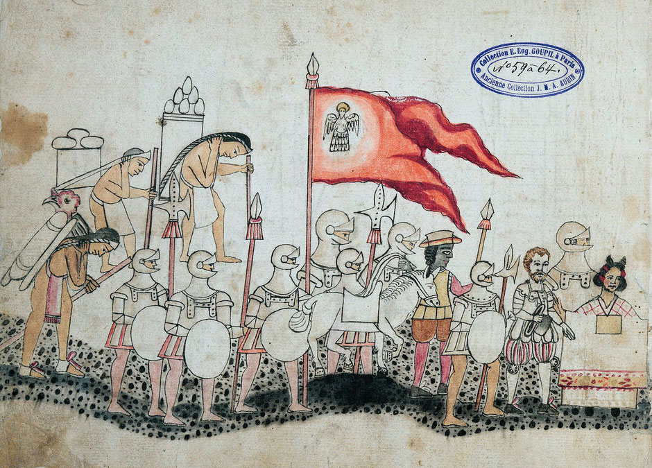 Conquistadors and tamames (indigenous porters) in the Codex Azcatitlan, 16th century, Bibliothèque nationale de France. (source Wikicommons)