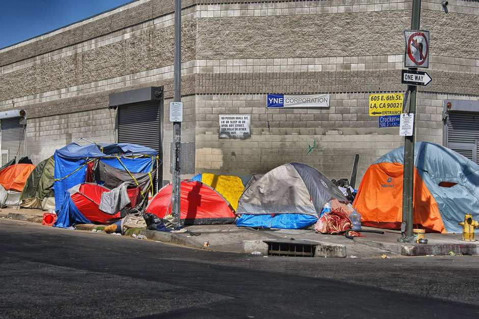 Tents on Crocker Street in the Skid Row neighborhood, downtown Los Angeles, July 8, 2018 (Wikimedia Commons)