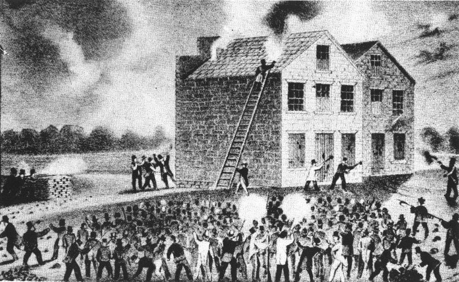 November 7, 1837 riot at Alton (Illinois) during which the abolitionist Lovejoy is killed (Source Wikicommons)
