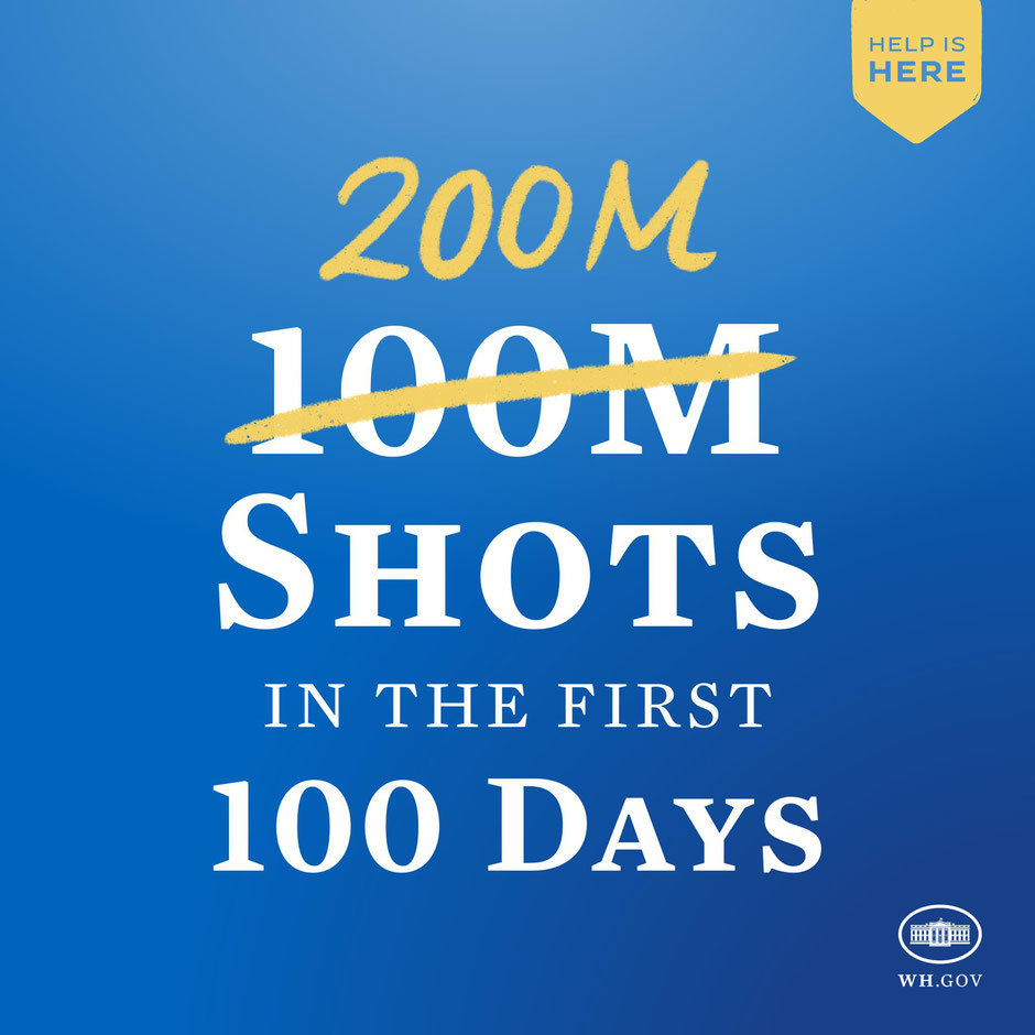 200 million doses in 100 days, a goal doubly met (source whitehouse.gov)
