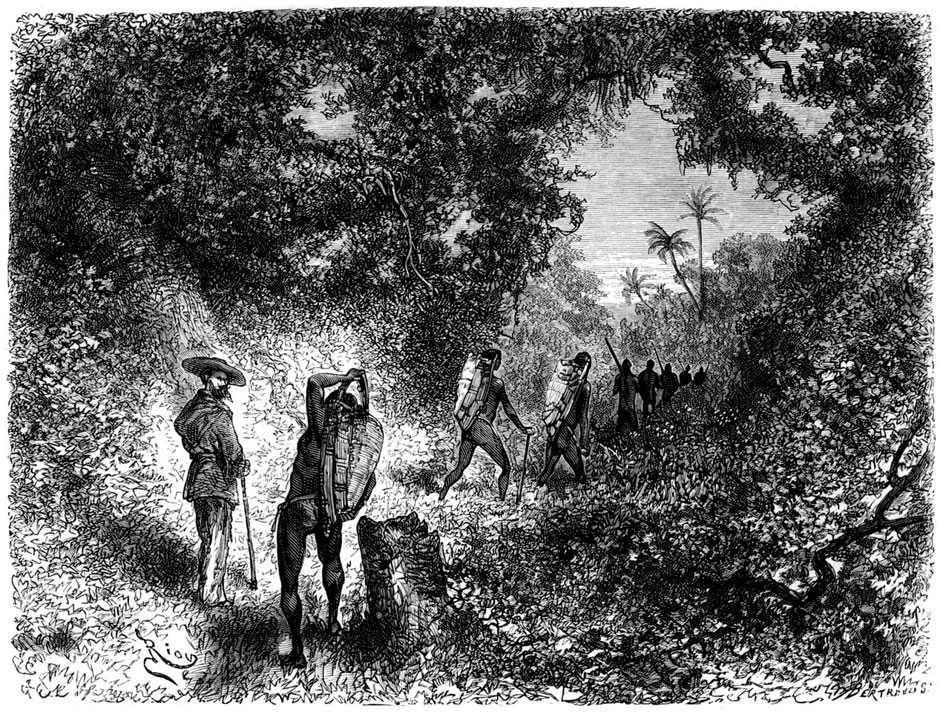 Though the indigenous peoples in the inter-fluvial zones were not necessarily good seafarers, they were on the other hand excellent walkers roaming their forest over huge distances (Crevaux 1877-1879).