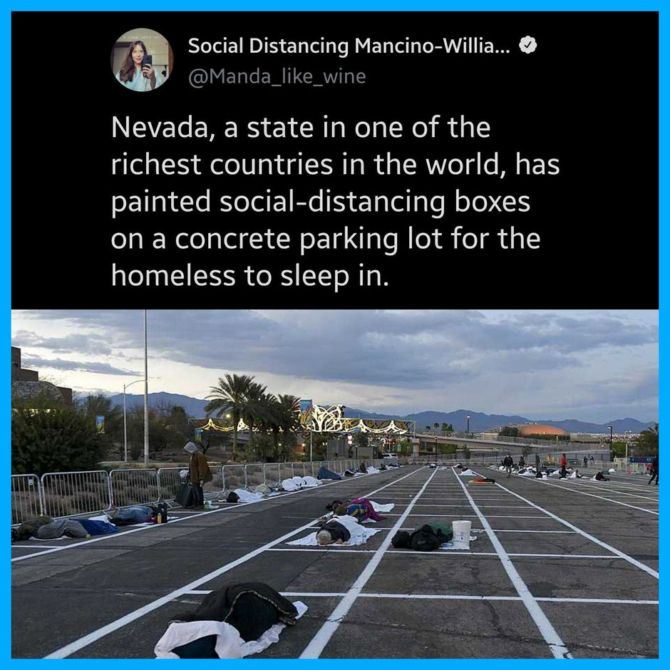 Las Vegas April 2020, homeless people being laid on a stadium parking lot following the infection of a shelter. (Source: Facebook)