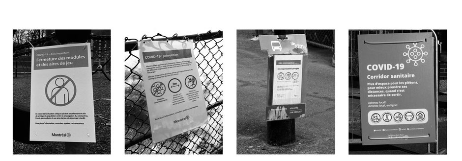 Montreal city recommendations posted in public spaces at the entrance of playgrounds, near a bus stop and along the Mont Royal Avenue health corridor. © Matthieu Noucher, Eliott Lordon & Élise Olmedo, April 2020