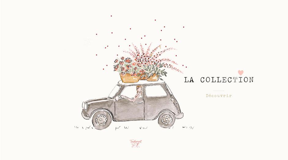 tendrement fé illustration papeterie bohème mini austin vintage carte affiche illustrée fleurs aquarelle poétique