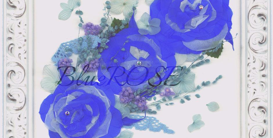 青いバラ 押し花