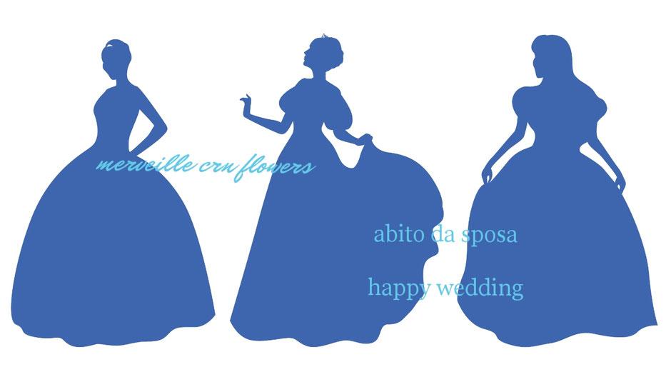 ウェディングドレス ブルー シルエット