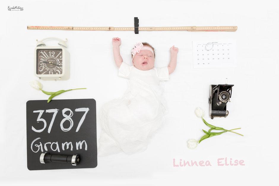 Shabby Chic und modere Karte zur Geburt von Mädchen