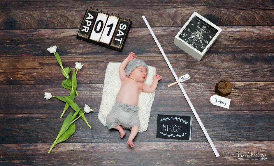 Geburtskarte für Jungen mit Name, Gewicht, Datum, Grösse