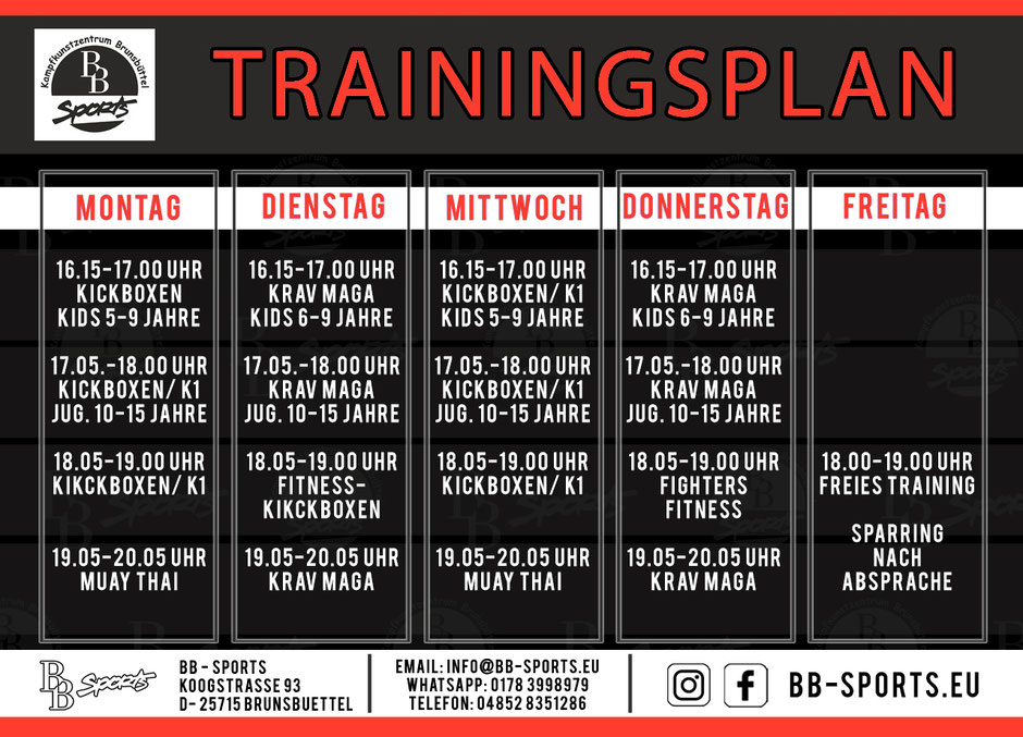 BB-SPORTS - Kurs- & Trainingsplan Kampfsportschule